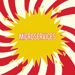 Word writing text Microservices. Business concept for Software development technique Building single function module.