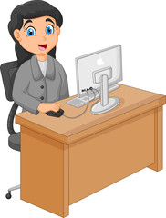 Illustration of a Businesswoman Working With Computer