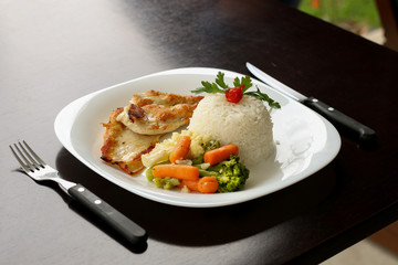 rice, grilled chicken and vegetables