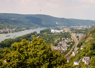 View of the city of Braubach and the Rhine Valley from the fortress of Marksburg