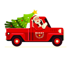 Merry Christmas! Santa claus driving  truck with christmas tree vector illustration