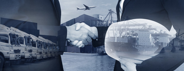 Business dealing for industry shipping logistics partnership worldwide service background.