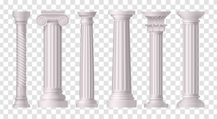 Antique White Columns Transparent Icon Set