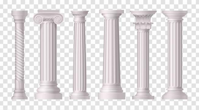 Antique White Columns Transparent Icon Set