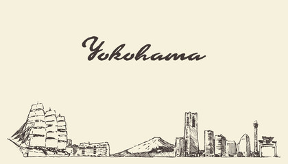 Wall Mural - Yokohama skyline, Japan vector city drawn sketch