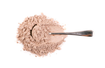 Whey cocoa protein powder for brown fitness shake isolated