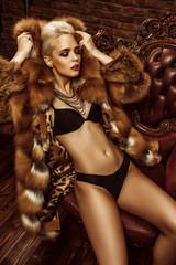 lingerie and fur coat