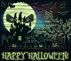 Happy Halloween wallpaper with moon and castle , vector illustration
