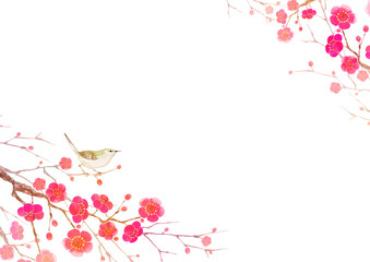 梅の花 寒中見舞い 年賀状 背景