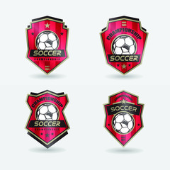 Set of Soccer Football Badge blue Logo Design Templates Sport Team Identity Vector Illustrations isolated on white Background
