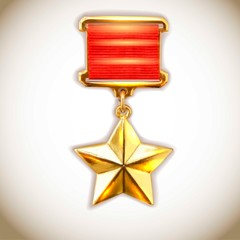 Gold star medal, old-style vector.