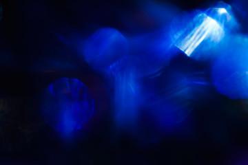 Round spots of blue light