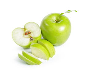 Fresh granny smith apples on white background