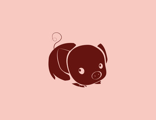Sign pig. Isolated silhouette pig. Vector illustration.