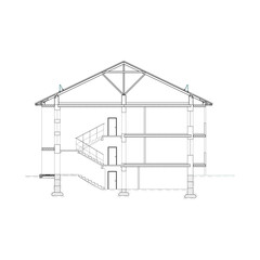 Detailed multi-storey building. Cross-section house. Vector black and white blueprint.