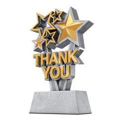 Award Trophy with Golden Thank You Sign. 3d Rendering