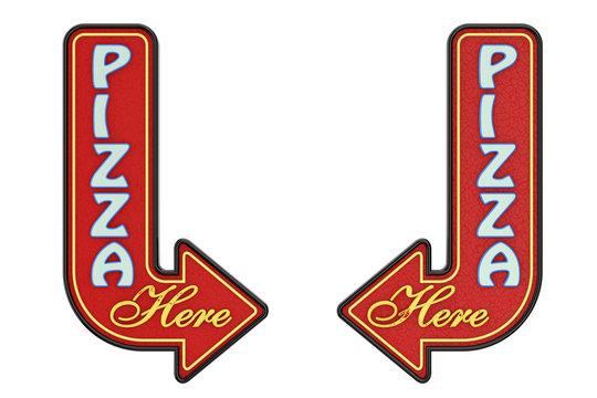 Vintage Rusty Metal Pizza Here Arrow Sign. 3d Rendering