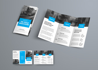 Tri-fold vector brochure template with blue rectangular elements for headers.