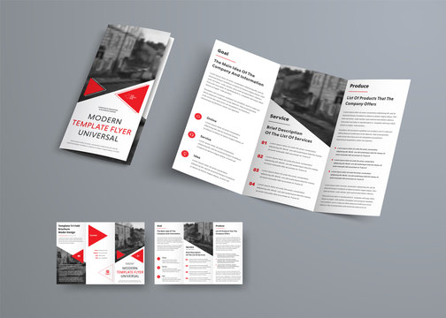 Tri-fold brochure template in modern style with red triangles and space for photo.
