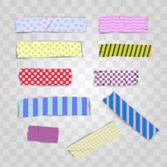 Set Realistic Colorful Pattern Scotch, Washi Tape Vector Illustration