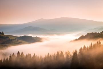Autumn landscape, foggy morning in the region of Orava, Slovakia, Europe.
