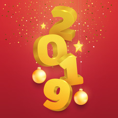 3d realistic vector golden number 2019 with christmas toy on red background. Happy new year design concept. Minimalistic trendy illustration for branding banner, cover, poster, card.