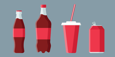 Set of soda drinks in flat style with long shadow isolated on grey background. Collection of paper cup, plastic and glass bottles vector illustration.