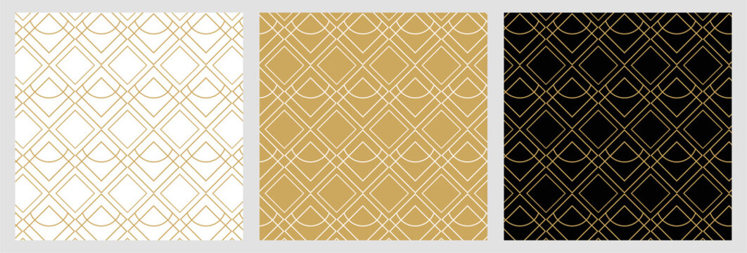 Seamless  abstract pattern for christmas background with elegant golden vector lines