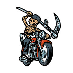 Grim Reaper with motorcycle
