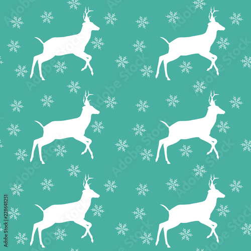 Christmas Seamless Pattern With Deer And Snowflakes Vector