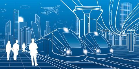 Two trains travel by rail. Modern night town. Urban scene. Big bridge. People walking at platform. Airplane fly. White lines on blue background. Vector design art