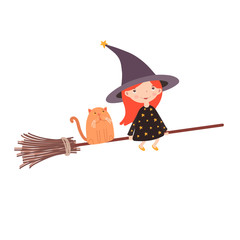 Cute little witch with cat