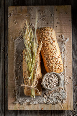 Delicious and healthy buns with wheat and ears