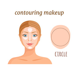 Highlighting and shading for round female face. Vector makeup tutorial.
