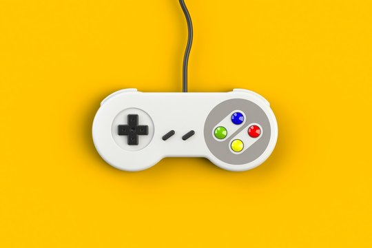 Video game console GamePad. Gaming concept. Top view retro joystick isolated on yellow background, 3D rendering