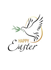 Happy Easter. Elegant greeting card with dove and olive branch. Vector illustration