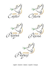 "Happy Easter. Set of 5 decorative elements with dove and olive branch. All the elements separated on a white background. The inscription ""Happy Easter"" in English, German, Italian, Spanish, French."