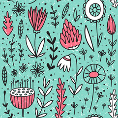 Vector seamless pattern with flowers. Flower background. Hand-drawn style. Scandinavian motives