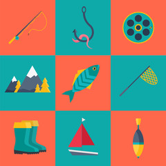 Set of Fishing icons in flat style isolated on blue and orange background. Collection of Fish, Mountains, Fishing rod, Worm on a hook, Float, Rubber boots, Fishing net, and boat vector illustration.