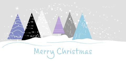 Weihnachtliche Schneelandschaft mit stilisierten Tannenbäumen als Grußkarte