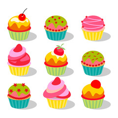 Vector illustration. Set of cute delicious cupcakes and muffins