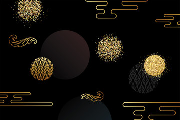 Background with shiny Golden glitter, confetti for the holiday. Gold polka dots, circles, round. Typographic design. Celebration pattern for party invitations, wedding, greeting cards, phone