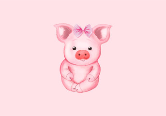 Little pig and pink bow. Isolated on pink. Cute watercolor illustration