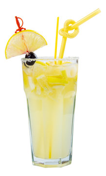 Rum Swizzle alcohol cocktail with lemon and sugar on the border of a tall glass. side view isolated on a white background