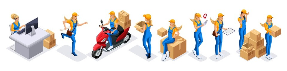 Isometric set of girls couriers, delivery service. Girl courier runs, edits on the moped during the delivery of the order, work 24 hours, fast delivery