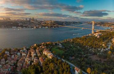 Wide panorama of 15th July Martyrs Bridge (formerly Bosphorus Bridge) between Asia and Europe aerial view from Asian side in Istanbul Turkey
