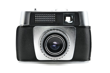 Old camera on isolated background.Photocamera