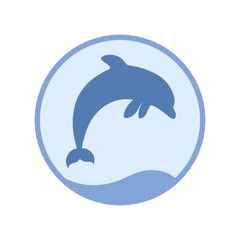 Sign jumping in the sea dolphin. Symbol dolphin in circle. Logo template isolated on white background. Vector illustration