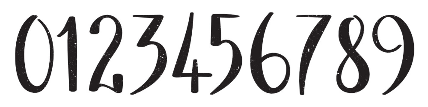 Vector grunge brush calligraphy numbers 0-9