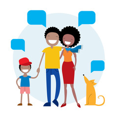 Happy African American family members parents, their son and a dog. Lovely cartoon characters with speech bubbles.Vector illustration